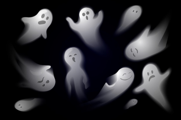 Realistic halloween ghost collection