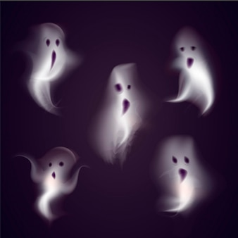 Realistic halloween ghosts collection
