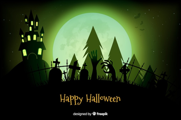 Realistic halloween haunted house and cemetery background