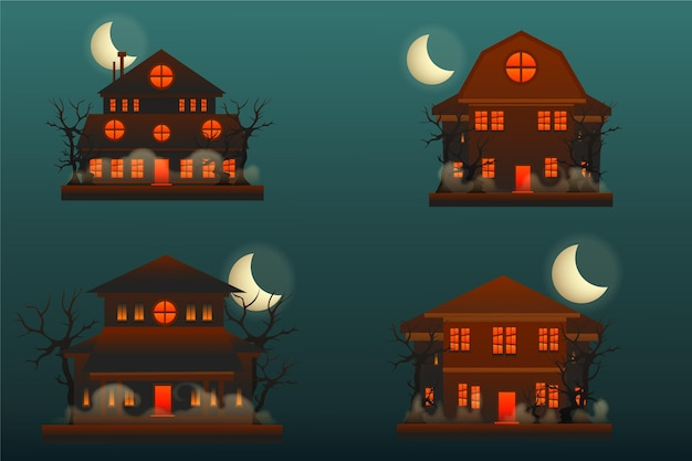 Realistic halloween haunted houses collection