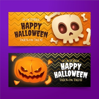Set di banner orizzontali realistici di halloween