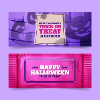 Realistic halloween horizontal sale banners set
