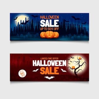 Реалистичные баннеры для хэллоуина с горизонтальной продажей