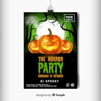 Realistic halloween horror party flyer template