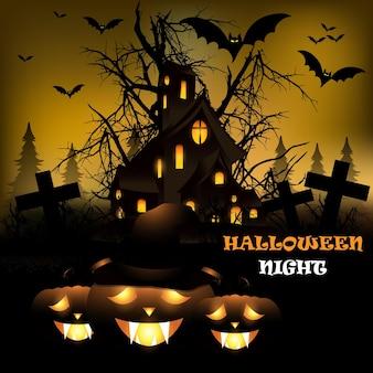 Realistic halloween horror vector illustration with glowing pumpkin