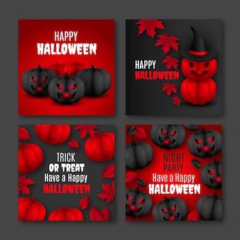 Реалистичная коллекция сообщений instagram хэллоуин