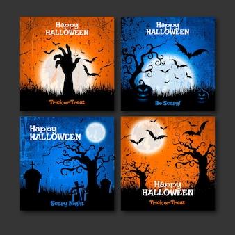 Realistic halloween instagram posts collection