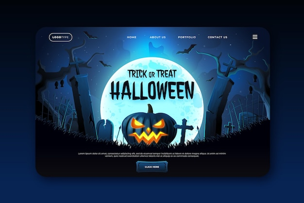 Realistic halloween landing page template