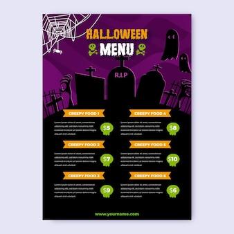 Realistic halloween menu template