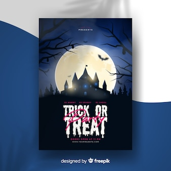 Realistic halloween party flyer template with haunted house