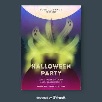 Realistic halloween party flyer template