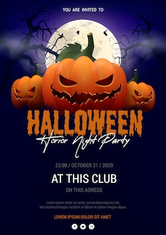 Realistic halloween party poster template