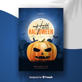 Realistic halloween party poster with pumpkin template