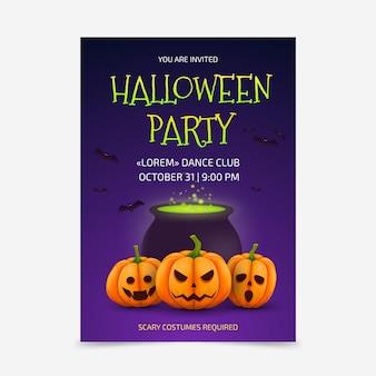 Реалистичный плакат для вечеринки на хэллоуин