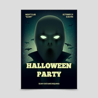 Realistic halloween party poster