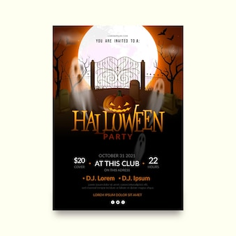 Realistic halloween party vertical flyer template