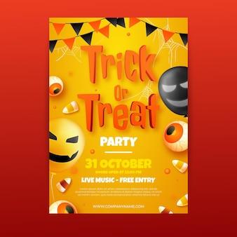 Реалистичный шаблон вертикального флаера для вечеринки в честь хэллоуина