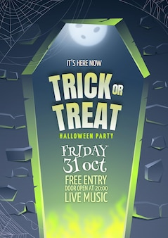 Realistic halloween party vertical poster template