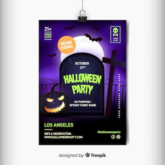 Realistic halloween partyr flyer template