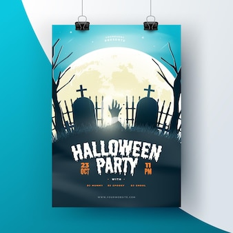 Realistic halloween poster template