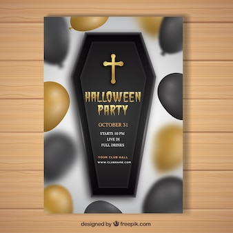 Realistic halloween poster with