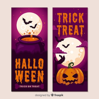 Realistic halloween pumpkin banners