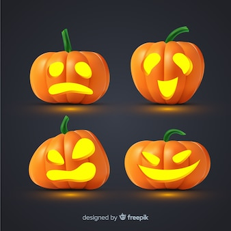 Realistic halloween pumpkin collection with faces
