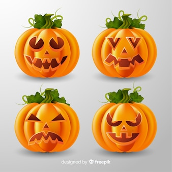 Realistic halloween pumpkin collection with stems