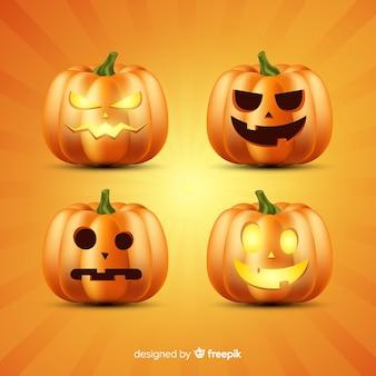 Realistic halloween pumpkin collection