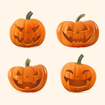 Realistic halloween pumpkin collection
