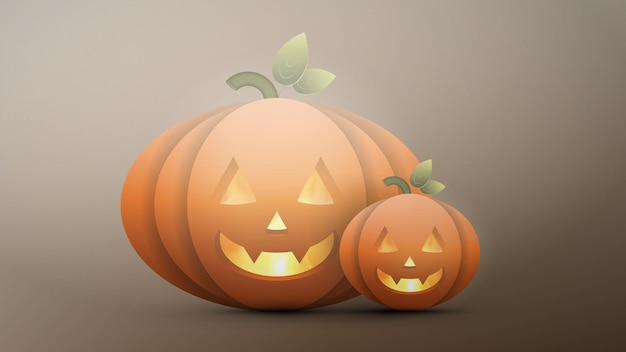 Realistic halloween pumpkin. a plastic pumpkin with a scary face. vector.