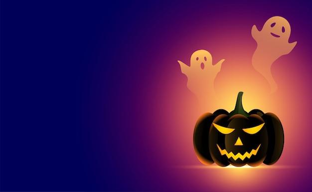 Zucca di halloween realistica con sfondo di fantasmi spaventosi