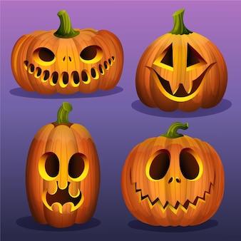 Realistic halloween pumpkins collection