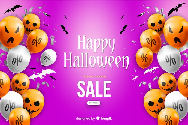 Realistic halloween sale background with balloons