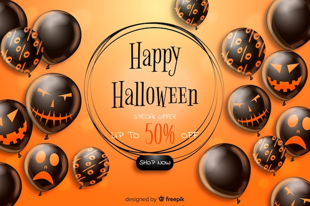 Realistic halloween sale background with black balloons