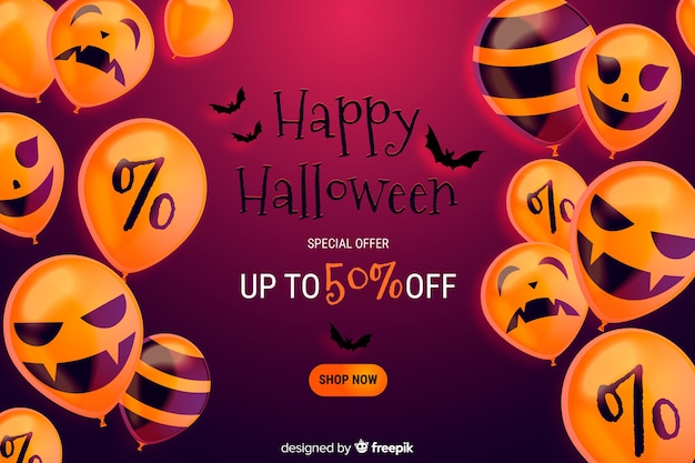 Realistic halloween sale background with discount