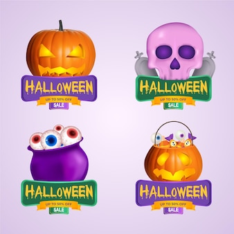 Realistic halloween sale badge collection