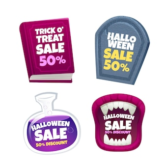Realistic halloween sale badges collection