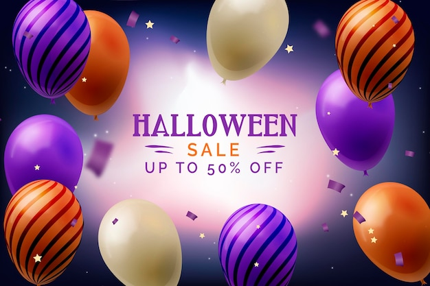 Realistic halloween sale banner with balloons