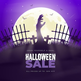 Realistic halloween sale illustration with cemetery