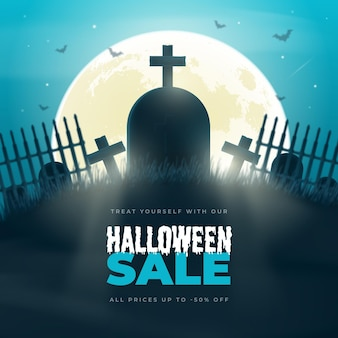 Realistic halloween sale illustration