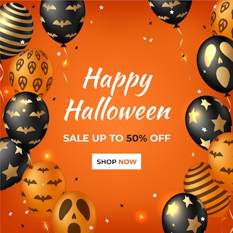 Realistic halloween sale squared banner