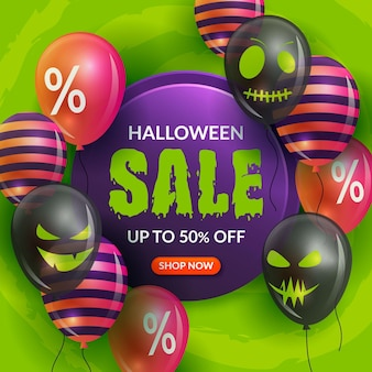 Realistic halloween sale theme