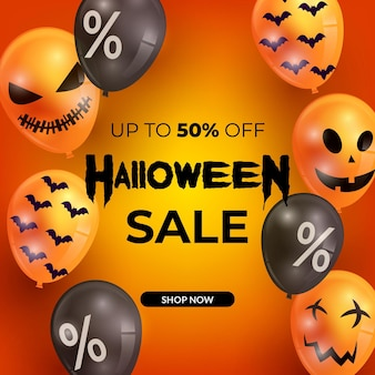 Realistic halloween sale with balloons