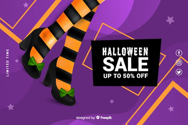 Realistic halloween sale with orange and black stockings