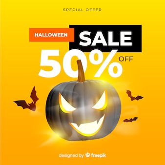Realistic halloween sale on yellow background