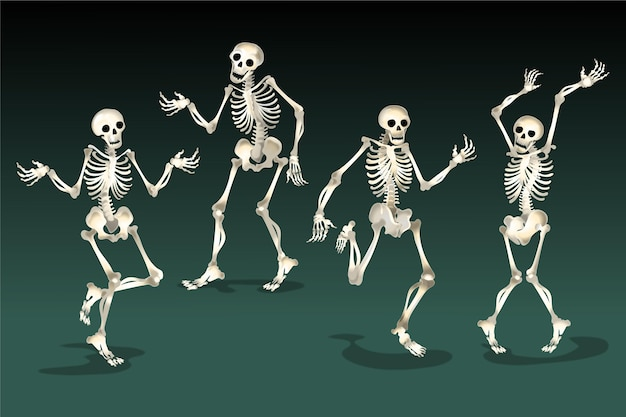 Realistic halloween skeletons collection