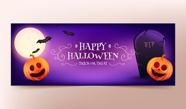 Realistic halloween social media cover template