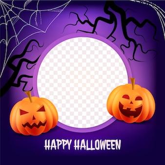 Realistic halloween social media frame template