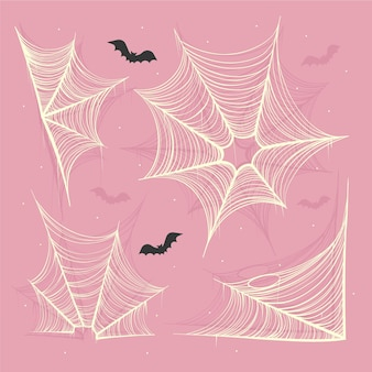 Realistic halloween spider webs collection